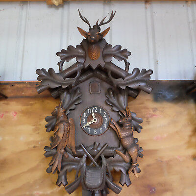 Antique Black Forest Hunter Cuckoo Clock Working Large Wood Carving