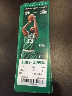 Boston Celtics Los Angeles Clippers MINT Season Ticket 2/9/19 2019 NBA Stub