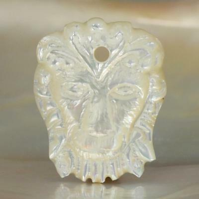 Mother-of-Pearl Shell Lion Head Pendant Focal Bead Carving 2.11 g