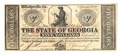 1862 $5 State of Georgia Note, Confederate CSA Currency, Red Overprint Error