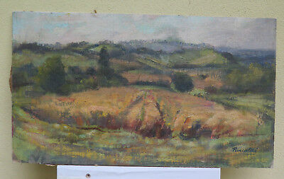 Painting Antique Oil On Board Landscape Countryside Campi Of Wheat Signed