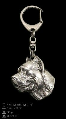 Cane Corso Silver Keyring, Solid Keychain, Key Ring with Dog UK 5