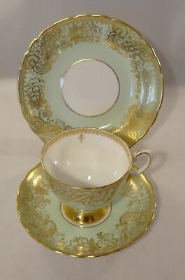 Vintage Tuscan China D420 Mint Green Gilded Trio Footed Cup Saucer Plate c1950
