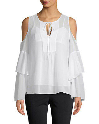 6a10626e13d095 BCBGMAXAZRIA WOMEN S COLD Shoulder Silk Embroidered Blouse Shirt Top ...