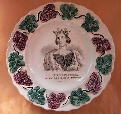 English Commemorative Plate  Queen Josephine Of Norway And Sweden [ 1844 ]
