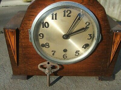 Anvil London Westminster Chime Mantel Clock Oak Art Deco Mantle Clock With Key