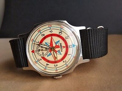 Wrist Watch Pobeda ZIM Rose of Wind USSR +NEW Nato Strap / Serviced