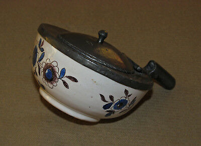 French Faience and Pewter Inkwell, tin-glazed / delft, 18th / 19th Century