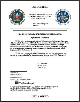 *** National Security Agency - Freedom Of Information Act Document ***