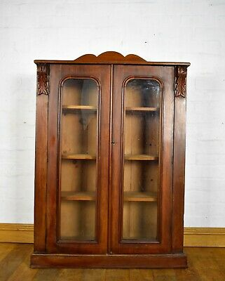 Antique carved Victorian double door bookcase / display cabinet