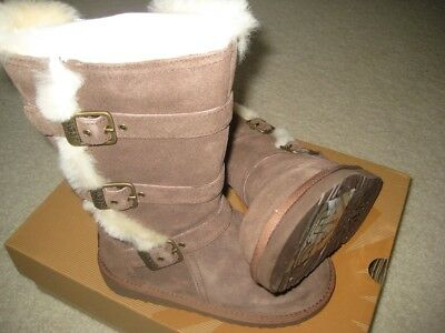 f42d7d7da7e NEW UGG MADDI Chocolate Brown 1001520 Girls Kids Zipper Buckle Boots Size 13