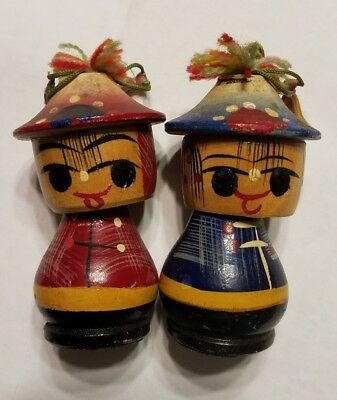 Vintage Folk Art Japanese Asian Hand Painted Wood Bobble Heads w/ Hats