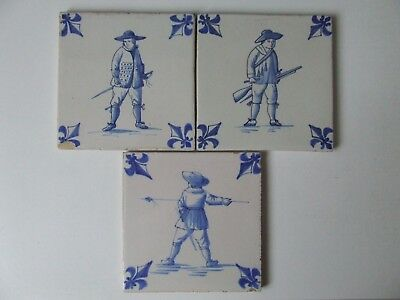 Set of 3 Beautiful Dutch Delft tiles with Soldiers.