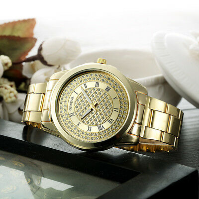 New Fashion Luxury Womens Stainless Steel Sport Quartz Hour Wrist Analog Watch