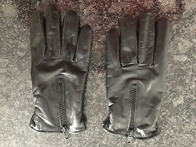 Men's Classy 100% Black Leather Winter Gloves - Warm Motorcycle Gloves