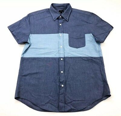 J Crew Vintage Retro Oxford Dress Work Shirt Button Front Blue Mens L Casual