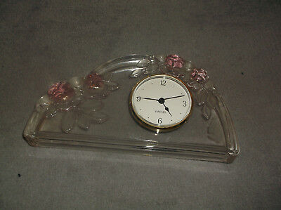 unusual WALTHER ART DECO GLASS MANTLE CLOCK MID CENTURY CLOCK MADE IN GERMANY