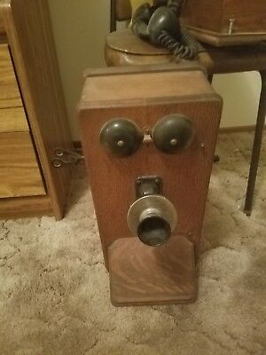 Antique Oak Wood Wall Crank Vintage Wooden Phone