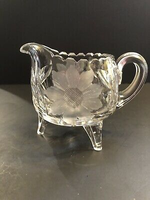 """4"""" Crystal Glass & Etched Flower 3-Footed Cream Pitcher"""
