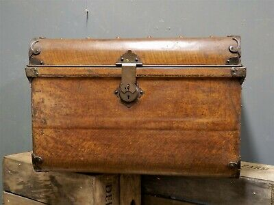 Superb Large Victorian Metal Steamer Trunk Storage Chest Scumble painted