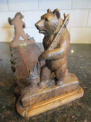 "antique treen Black Forest Carved Wooden Bear expanding book rack 7x20"" 50x8cm"