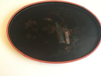 Antique Chinese Foochow Black Lacquer Ware Hand Painted paper mache Tray