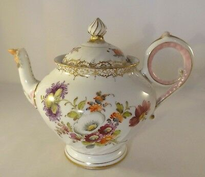 Antique Crown Over Dresden Hand Painted Floral Wrythen Mask Head Teapot c1860