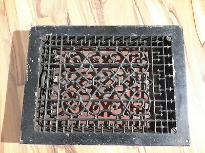 Antique Cast Iron Heat Grate Floor/Wall Vent Register Louvers Large Old