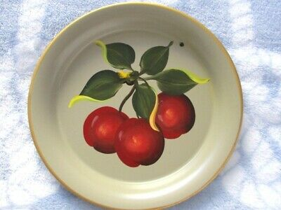Hand Painted Vintage Red Cherries Mid Century Design Country Fruit Tole Tray