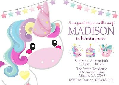 Unicorn Invitations Birthday 1st Party