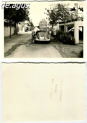 Vintage Photo circa 1950s two young Men with vw ovali beetle volkswagen