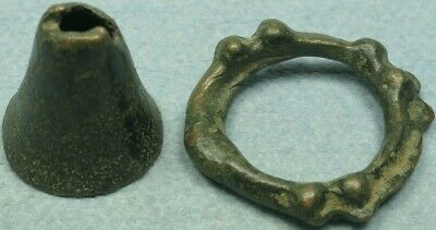Lot Of 2 Celtic Bronze Proto-Money Artifacts, Bell + Knobbed Ring