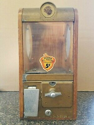Victor Baby Grand Gumball Candy Machine Oak Acorn Wood Sides Vintage Vending