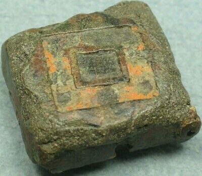 Ancient Bronze Enameled Wax Seal Box