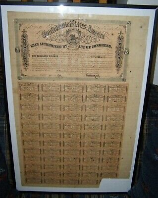 1864 Confederate $1000 Equestrian Bond With 59 Of 60 Coupons Attached