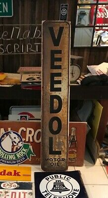 Rare 1930's Original VEEDOL SIGN Gas Oil Advertising not Tydol Mobil Gulf Sunoco