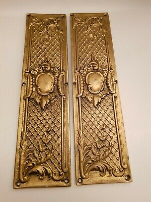 Pair of Vintage Brass Door Handle Finger Plate Push Door Architectural Plates