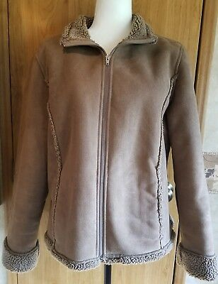 f8215cf9646 LL BEAN Womens Coat Jacket Faux Suede Sherpa Lined Embroidery Light Brown XL