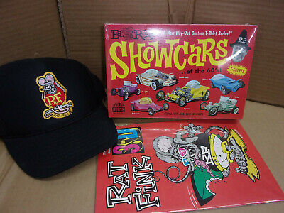 Ed Roth Show Car T Shirt NEW SEALED Road Agent and Rat Fink Comic Book hat lot