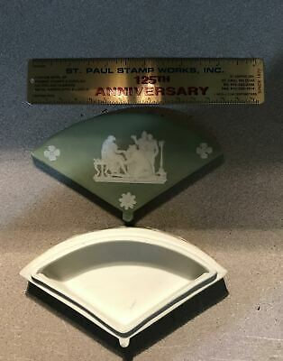 Wedgwood Jasperware Green Fan Shaped Trinket Box