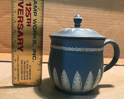 Wedgwood Jasperware Blue Covered Tea Cup