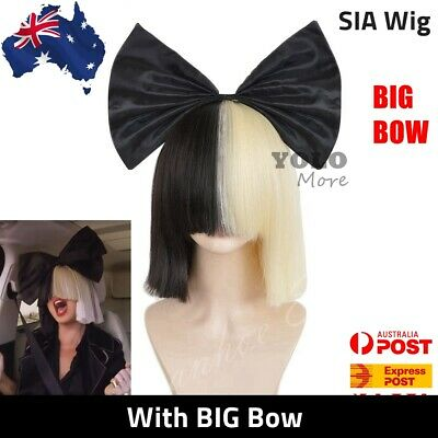 Sia Ladies Wigs Short Blonde & Black Straight w/ Black Bow Cosplay