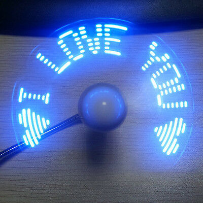 LED Clock Fan -Mini USB Powered Cooling Flashing Real Time Display DC 5V