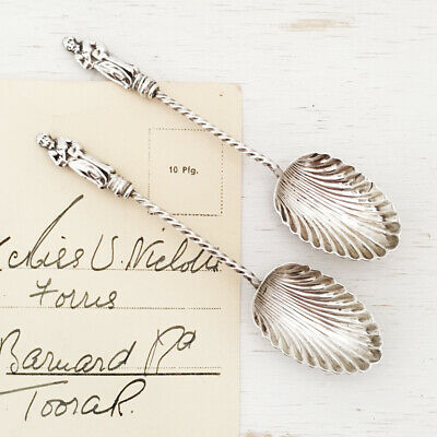 2 Antique Sterling Silver Apostle Spoons - Birmingham 1896 - scallop shell