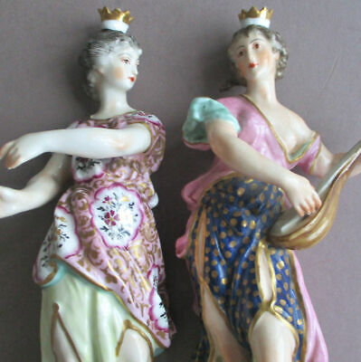 """2 Antique 19thC DERBY Hand Painted 8"""" Porcelain Figurines MAIDENS w CROWNS c1825"""