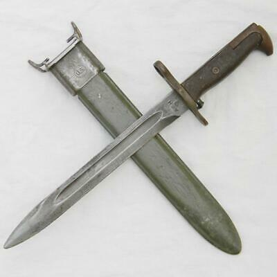 WW2 USA AFH M1 bayonet-NOT a cut-down, rare BROWN GRIPS type Orig VP M7 scabbard