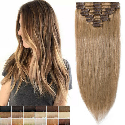 Long/Short Clip In Full Head Remy Real Human Hair Extensions 8 pieces Weft E834