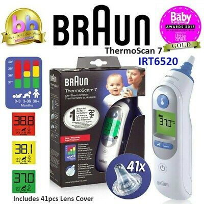 BRAUN Thermoscan 7 IRT6520 Baby/Adult Digital Ear Thermometer + 41 Lens Covers