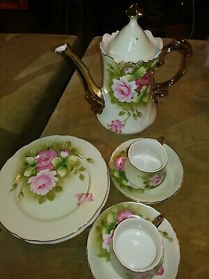 Lefton China Hand Painted Green Heritage Rose Coffee Pot plate cup saucers