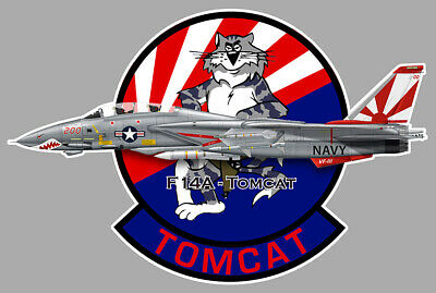 Automobilia Collection Here Grumman Tomcat F14 Blason Vf 2 Bounty Hunters Squadron 10cm Avion Sticker Av107 Badges, Insignes, Mascottes